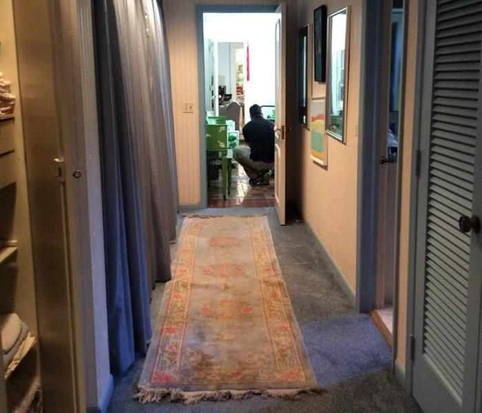 Blue carpet hallway with an employee in the doorway.