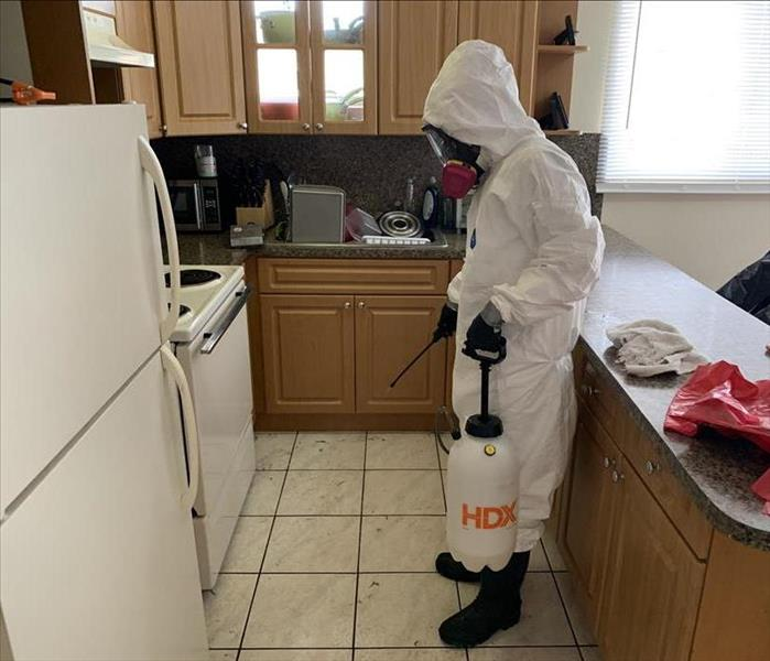 Person in PPE in a kitchen