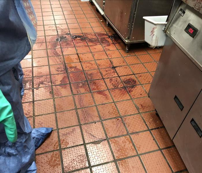 restaurant dinning area with blood on the floor.
