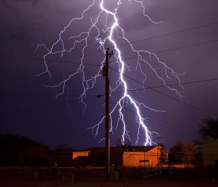 Extremely detailed lightning bolt behind electric utility pole