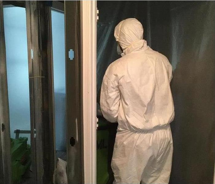 Technician wearing protective equipment while mold remediation process